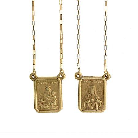 Escapulário de Ouro Sagrado Coração de Jesus e Nossa Senhora do Carmo 18K - PC 7.26