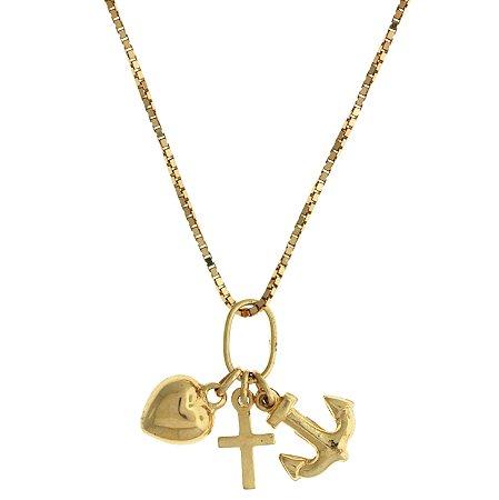 Pingente Coração Cruz e Ancora em Ouro Amarelo 18k - PC 2.22