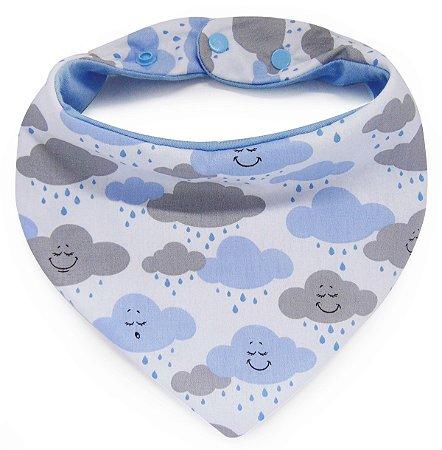 006 Babador Bandana com Estampa de Nuvens Azul e Cinza
