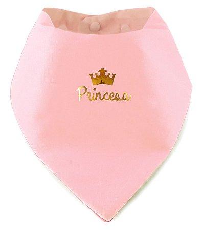 Babador Bandana Princesa Rosa Bebê