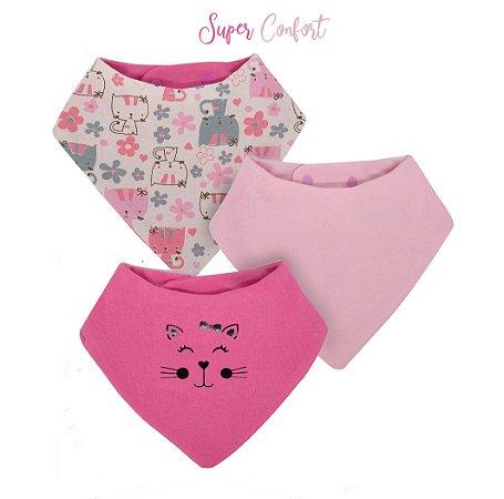 010 Babador Bandana Kit com 3 unidades Super Confort Gatinha Rosa