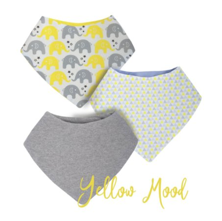 009 Babador Bandana Kit com 3 unidades Yellow Mood