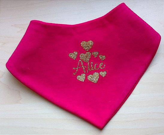 Babador Bandana Personalizado Pink Escrita Gliter Dourado
