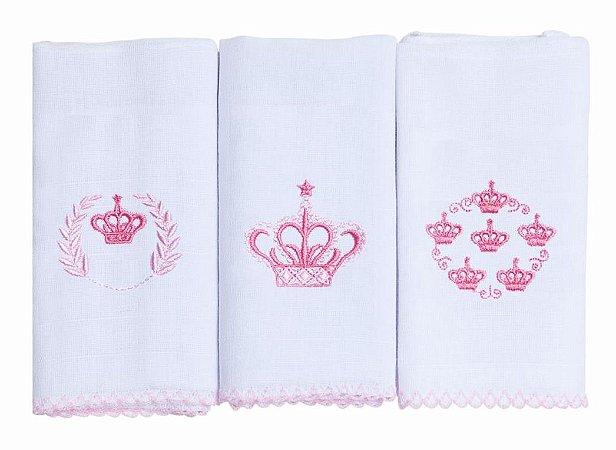 Kit C/ 3 Panos de Boca Babete Bordado Coroa Princesa