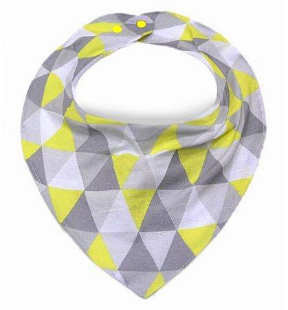 Babador Bandana com Triângulos Amarelo e Cinza