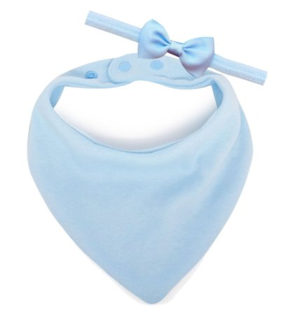 Babador Bandana Comfort + Faixinha Com Mini Laço Azul Bebê