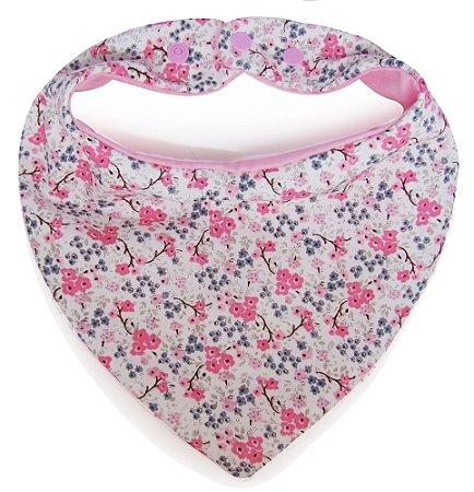 001 Babador Bandana Com Estampa Mini Flores Rosa