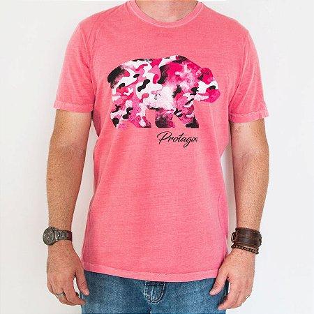 Camiseta Estonada Slim Urso Camuflado