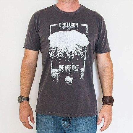 Camiseta Estonada Cinza Slim Urso Estilhaçado