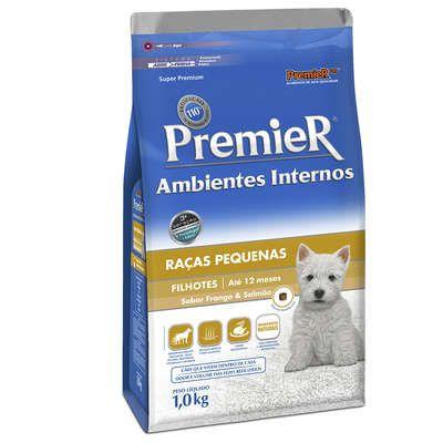 Ração Premier Pet Ambientes Internos Cães Filhotes Frango e Salmão 1 Kg