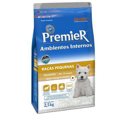 Ração Premier Pet Ambientes Internos Cães Filhotes Frango e Salmão 2,5 Kg