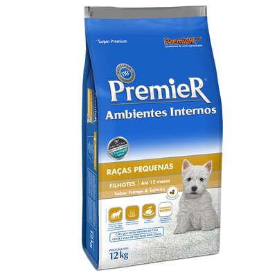 Ração Premier Pet Ambientes Internos Cães Filhotes Frango e Salmão 12 Kg