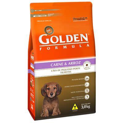 Ração Golden Formula Carne e Arroz para Cães Filhotes de Raças Pequenas 3 Kg