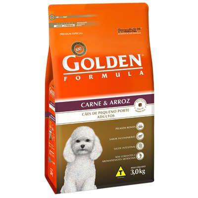Ração Golden Formula Carne e Arroz para Cães Adultos de Raças Pequenas 3 Kg