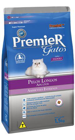 PREMIER GATOS ADULTOS PELOS LONGOS - SALMÃO 1,5 kg