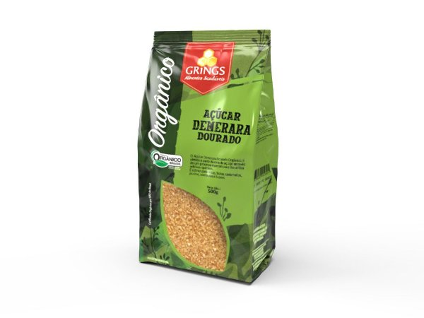 Açúcar Demerara Dourado Orgânico 500g Grings Alimentos