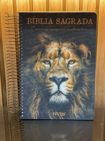 Bíblia Sagrada Anote | NVI | Letra Normal | Capa Dura | Espiral | Leão de Judá