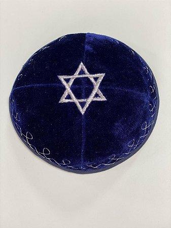 Kipá Azul Estrela de Davi