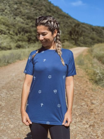 Camiseta Long Line Azul