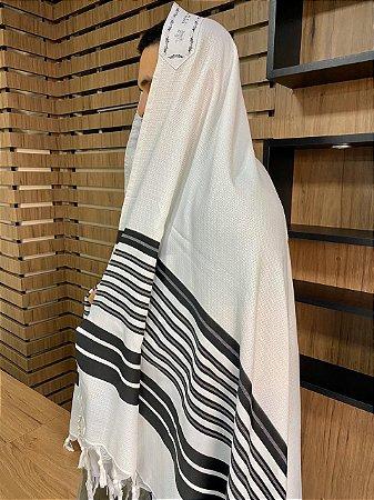 Talit Gadol Branco com Preto