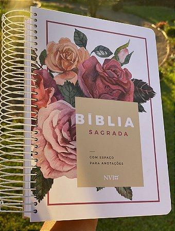 Bíblia Sagrada Anote | NVI | Letra Média | Capa Dura | Espiral | Floral