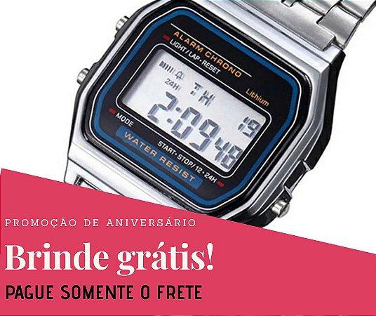 9509e8ef7fe Relógio Vintage Unissex Prata Digital - Hollys Relógios