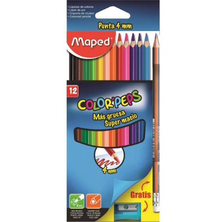 Lapis De Cor 12 Cores Colorpeps +1 Apontador + 1 Lapis Grafite