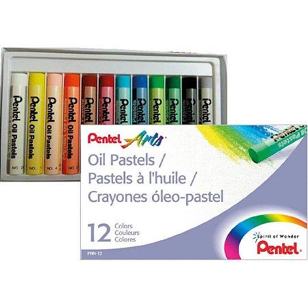 Giz Pastel Oleoso 12 Cores Estojo - Pentel