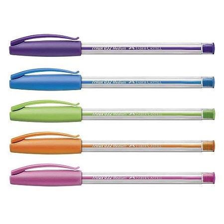 Kit Caneta Esferográfica Trilux 032 Cartela 5 Cores Coloridas - Faber-Castell