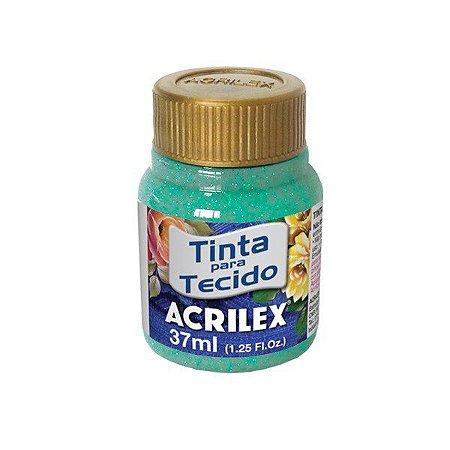 Tinta Tecido Glitter Azul Turquesa 37ml - Acrilex