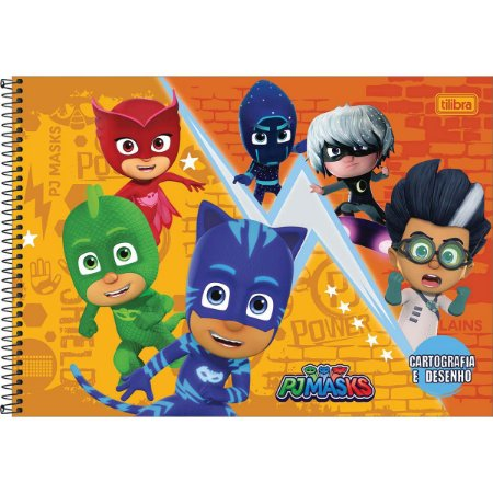 Caderno Cartografia PJ Masks 80 Folhas - Tilibra