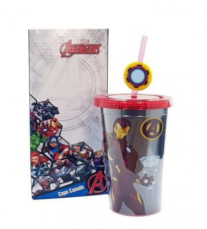 Copo Com Canudo E Pingente Iron Man - Zona Criativa