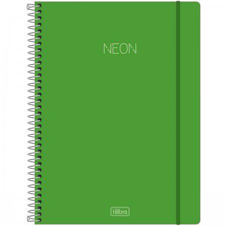 Caderno Universitário Neon Verde 10 Matérias - Tilibra