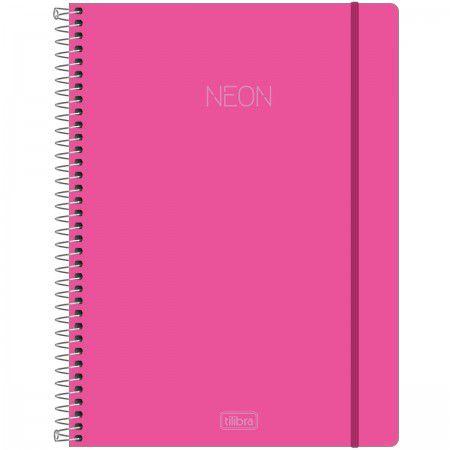 Caderno Universitário Neon Rosa 10 Matérias - Tilibra