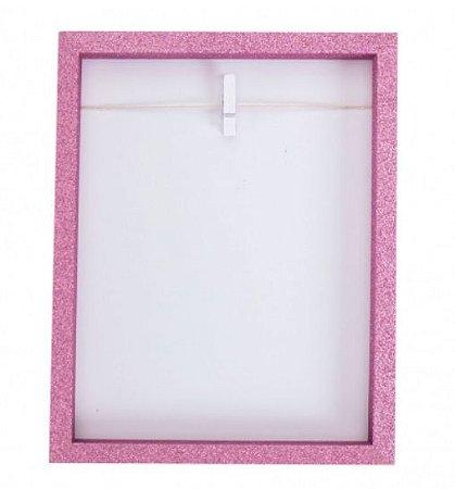 Porta Retrato Clip Glitter Rosa - Uatt