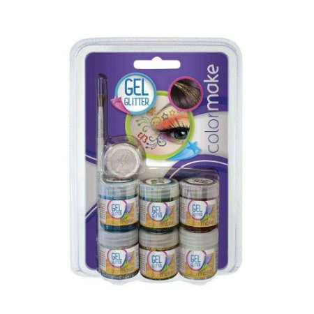 Pintura Facial Gel Glitter 6 Cores+Pincel+Somb Kit 2002 - Colormake