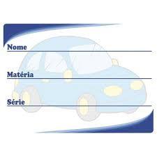 Etiqueta Escolar Decorada Azul Carrinho 60x40mm.
