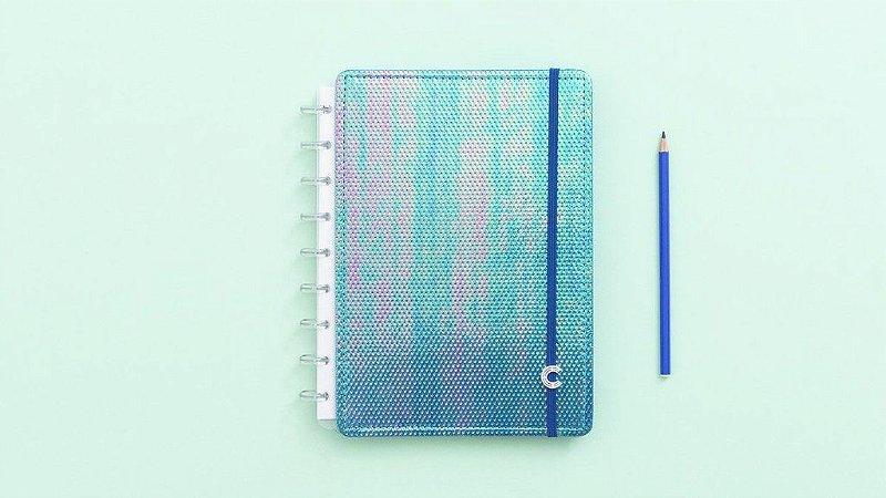 Caderno Azul Holográfico Médio - Caderno inteligente