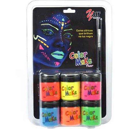 Pintura Facial Liquido Color Make 6cores Fluo Bl.C/06 1003 - Colormake