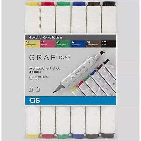 Marcador artístico Graf Duo 6 cores basicas - Cis