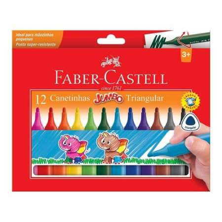Canetinha Triangular Jumbo 12 Cores - Faber-Castell