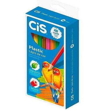 Lápis De Cor Sextavado  Plastic 48 Cores - Cis