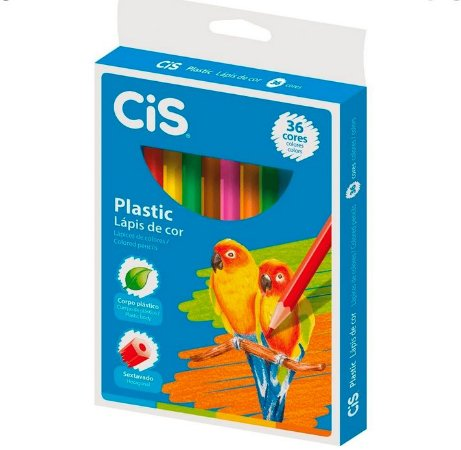 Lápis De Cor Sextavado Plastic 36 Cores - Cis