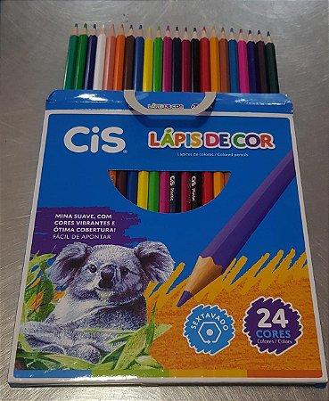 Lápis De Cor Sextavado Plastic 24 Cores - Cis