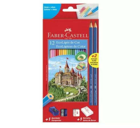 Lápis de Cor Sextavado 12 Cores C/ Kit Escolar - Faber-Castell
