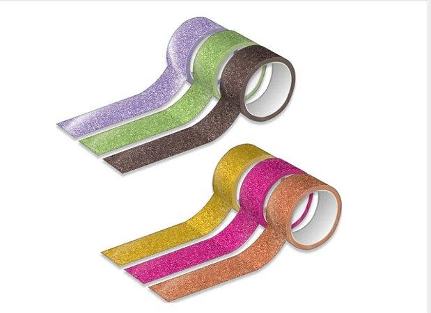 Fita Washi Tape Glitter Sortidas - Tilibra