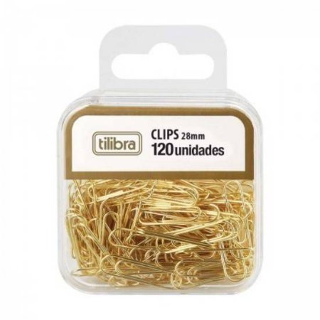 Clips 28mm Dourado Bl/120 - Tilibra