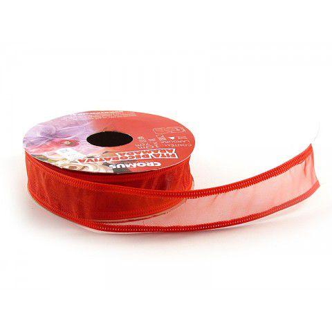 Fita Aramada Organza Vermelho 27mmx10m - Cromus