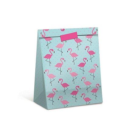 Pacote Para Presente Flamingo M 26x19,5x9,5-Cromus