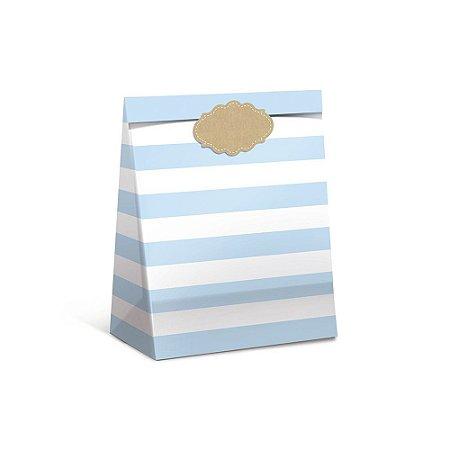Pacote Para Presente Listra Azul M 26x19,5x9,5-Cromus